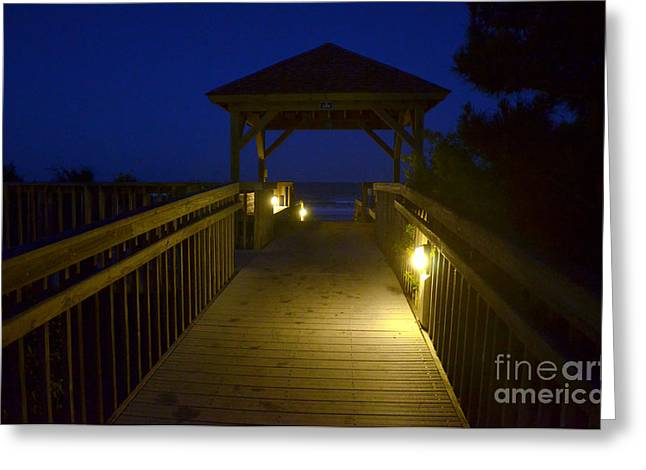Wrightsville Beach Night Lights Greeting Card