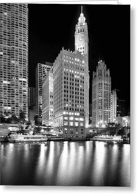 Wrigley Building Reflection In Black And White Greeting Card by Sebastian Musial