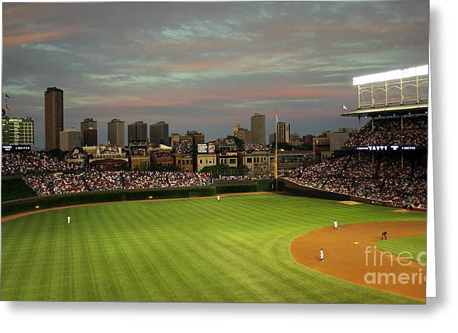 Wrigley Field At Dusk Greeting Card