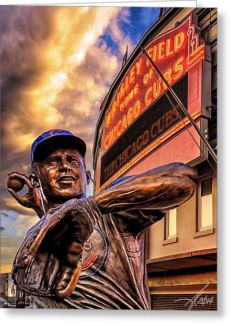 Wrigley Field Legend Greeting Card by Anthony Citro