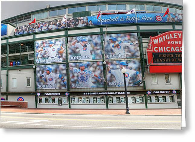Wrigley Field On Clark Greeting Card by David Bearden