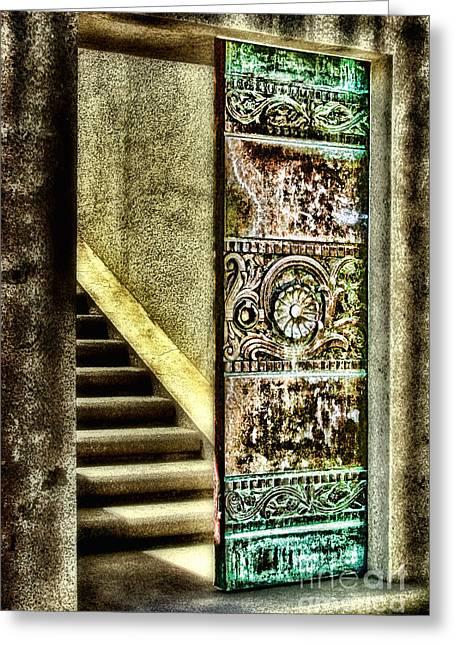 Wrigley's Tower Bronze Doors By Diana Sainz Greeting Card