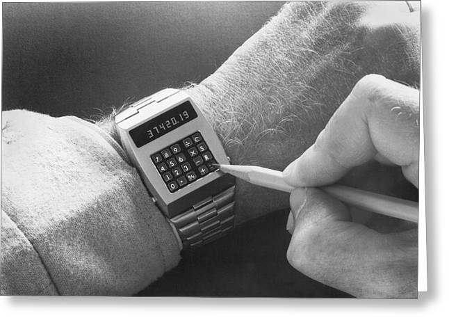 Wristwatch Calculator Greeting Card by Underwood Archives