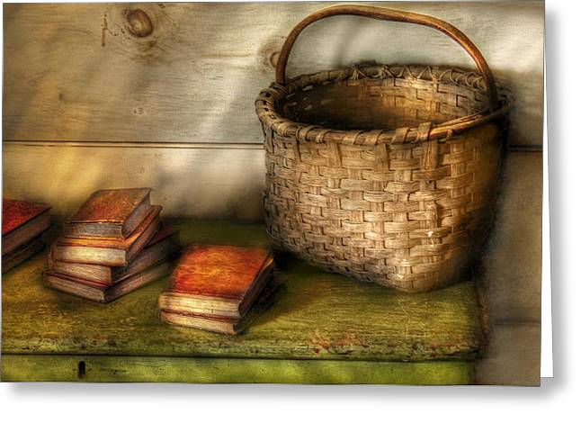 Writer - A Basket And Some Books Greeting Card by Mike Savad