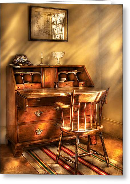 Writer - A Chair And A Desk Greeting Card by Mike Savad