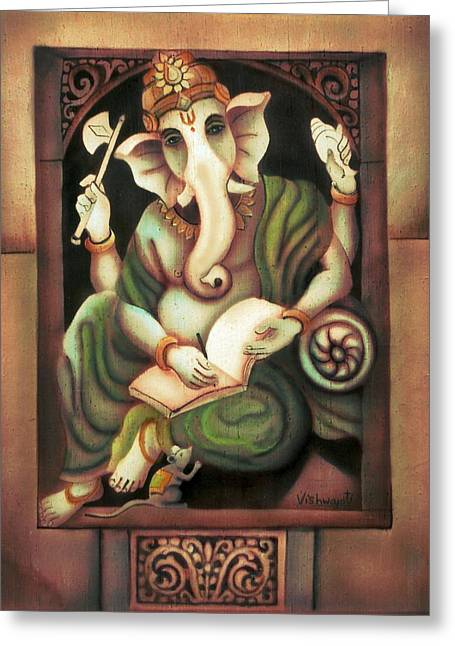 Writing Ganesh Greeting Card by Vishwajyoti Mohrhoff