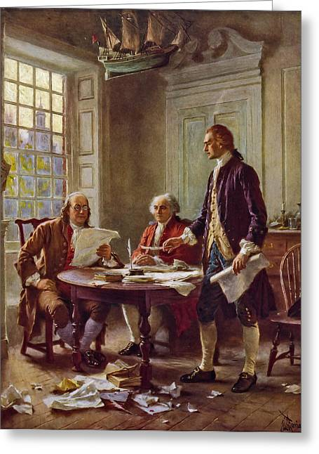Writing The Declaration Of Independence 1776 Greeting Card