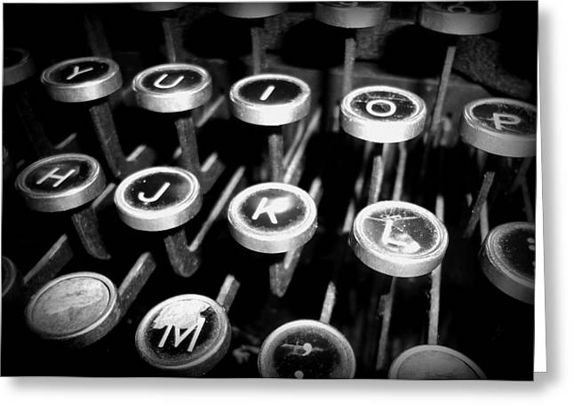 Writing The Great Novel - Black And White Greeting Card by Joseph Skompski