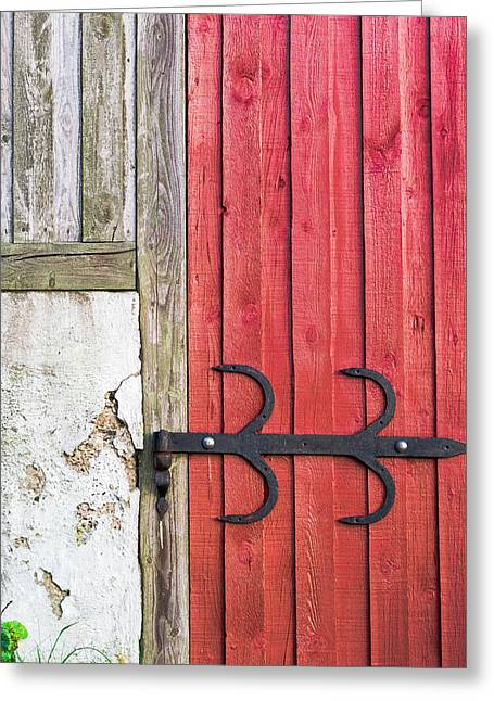 Wrought Iron And Red Door Greeting Card