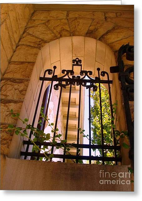 Greeting Card featuring the photograph Wrought Iron Arch Window 1 by Becky Lupe