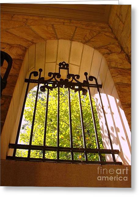 Greeting Card featuring the photograph Wrought Iron Arch Window by Becky Lupe