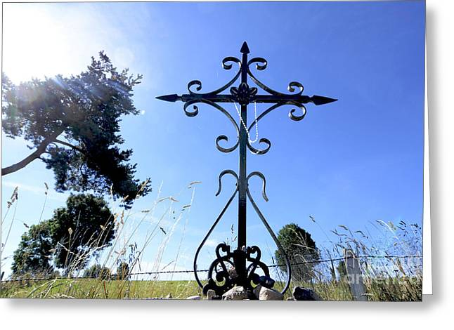 Wrought Iron Cross In Margeride. Haute Loire Greeting Card