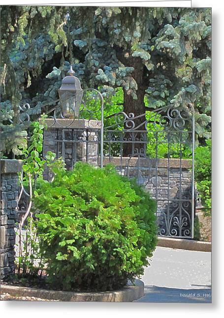 Wrought Iron Gate Greeting Card by Donald S Hall