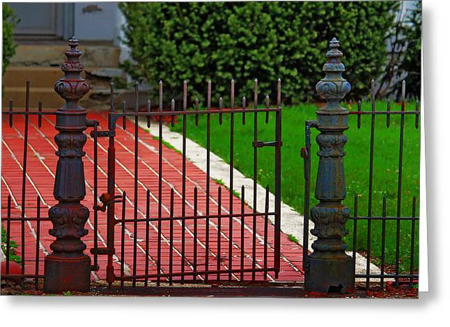 Wrought Iron Gate Greeting Card by Rowana Ray