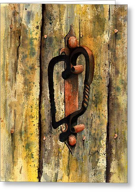 Wrought Iron Handle Greeting Card by Sam Sidders