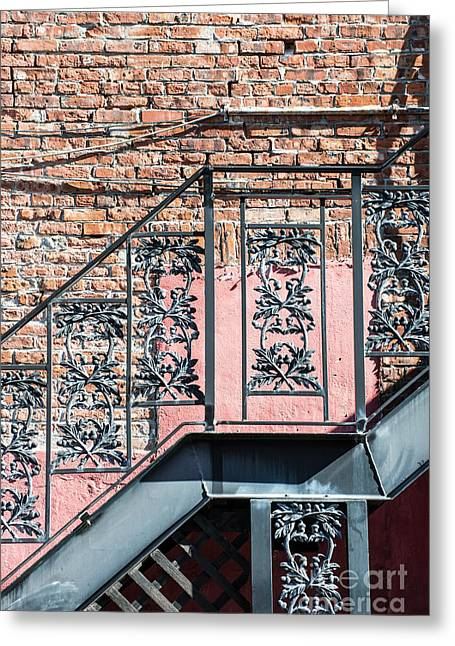 Wrought Iron Staircase Key West Greeting Card by Ian Monk