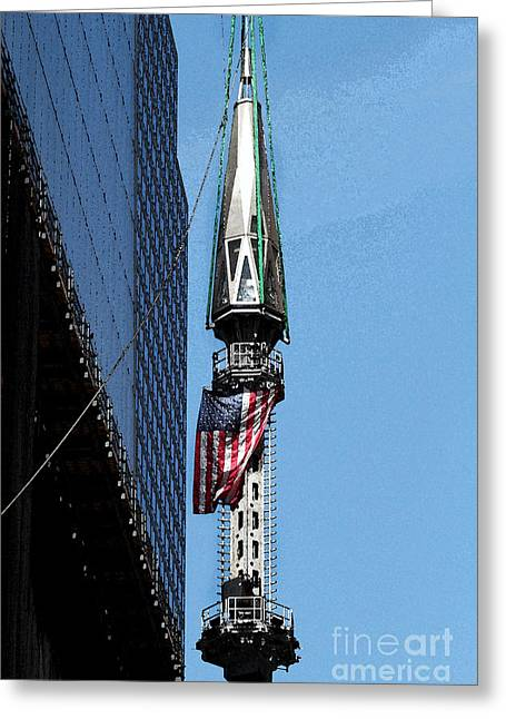 Wtc Spire Going Up Greeting Card