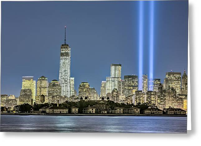 Wtc Tribute In Lights Greeting Card by Susan Candelario