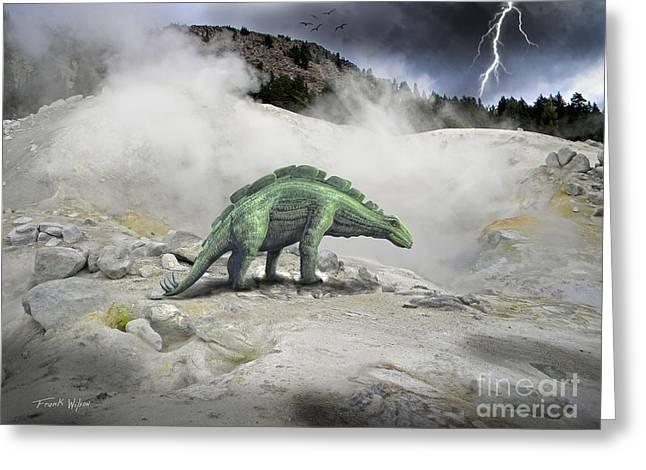 Wuerhosaurus Near Volcanic Vent Greeting Card