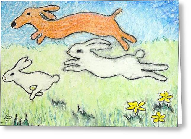 Wunning Wif Wabbits Greeting Card by Kenny Henson