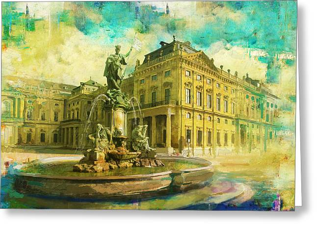 Wurzburg Residence With The Court Gardens And Residence Square Greeting Card