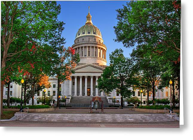 Wv Capitol As Dusk Greeting Card by Mary Almond