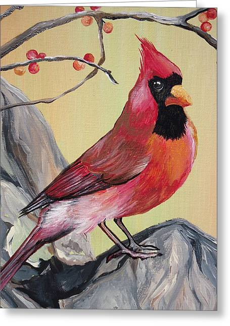 Wv State Bird Greeting Card by Leslie Manley