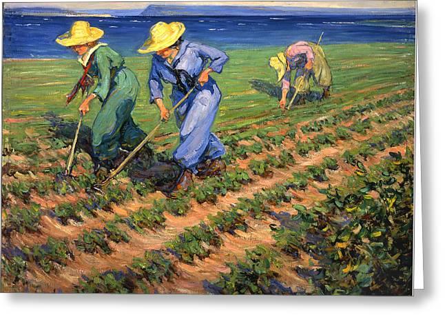 Ww1 Land Girls Farming Painting Print Greeting Card