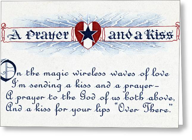 Wwi, A Prayer And A Kiss, Valentine Greeting Card by Science Source