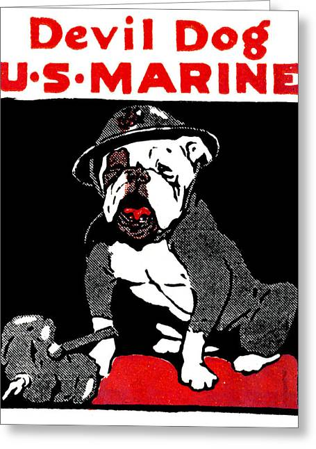 Wwi Marine Corps Devil Dog Greeting Card by Historic Image