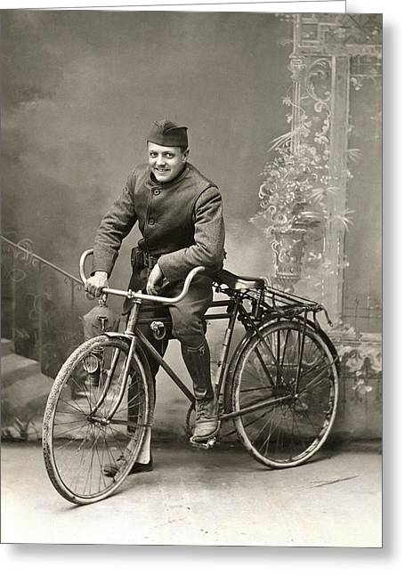 Wwi Us Army Bicyclist Greeting Card