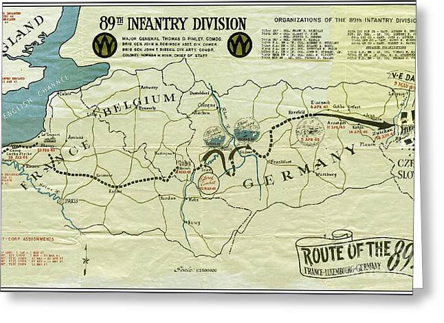 Ww I I 89th Division Map Original Greeting Card