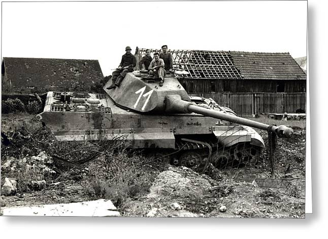 Wwii Allied Soldiers Atop German Tank Greeting Card