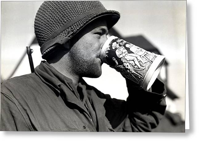 Wwii American Soldier Drinking Beer Greeting Card by Historic Image