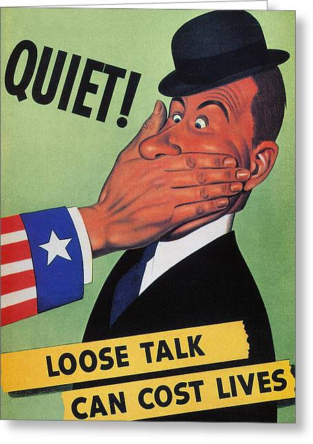 Wwii: Careless Talk Poster Greeting Card