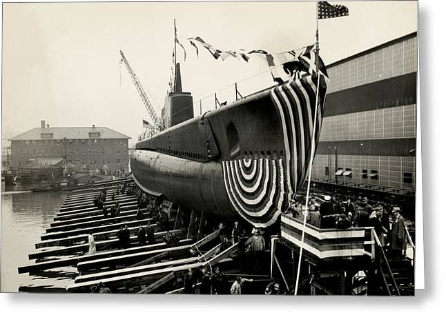 Wwii Launch Of Uss Peto Greeting Card by Historic Image
