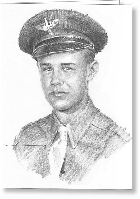 Wwii Military Dad Pencil Portrait Greeting Card by Mike Theuer