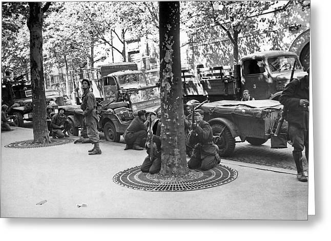 Wwii Paris Troops Greeting Card by Underwood Archives