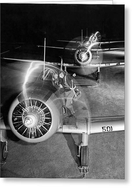 Wwii Pilot Training Greeting Card by Underwood Archives