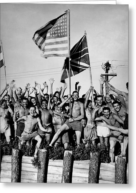 Wwii Pow Liberation Greeting Card by Historic Image