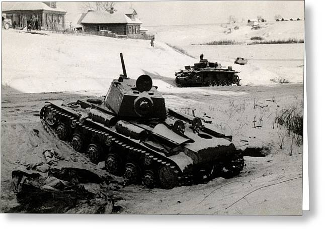 Wwii Russian And German Tanks Eastern Front Greeting Card