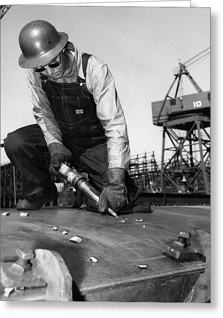 Wwii Worker At Terminal Island Greeting Card by California Shipbuilding Corporat