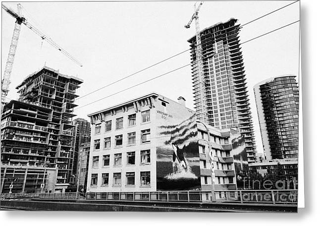 Wyland Orcas Mural On Old Continental Hotel In Front Of The Mark New Condo Project Granville Street  Greeting Card