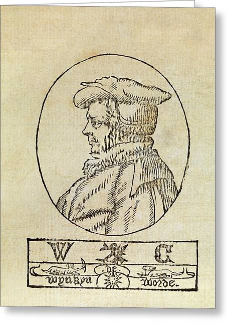 Wynkyn De Worde Greeting Card by Middle Temple Library