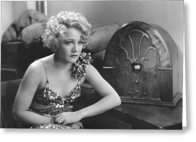 Wynne Gibson Listens To Radio Greeting Card by Underwood Archives
