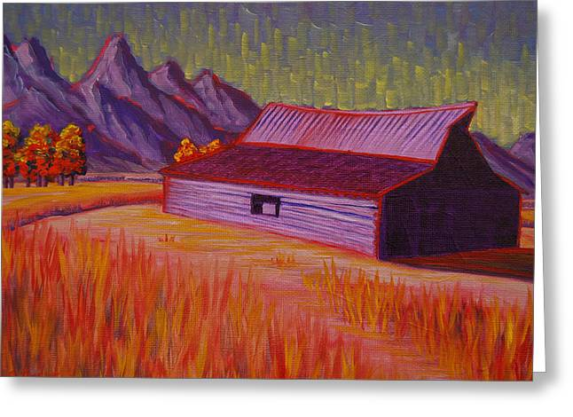 Wyoming Barn In Red Greeting Card