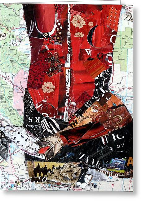 Wyoming Boot Greeting Card by Suzy Pal Powell