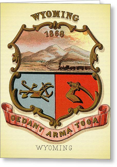 Wyoming Coat Of Arms - 1876 Greeting Card by Mountain Dreams