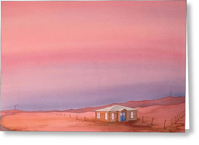 Greeting Card featuring the painting Wyoming Homestead by Scott Kirby