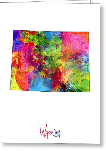 Wyoming Map Greeting Card by Michael Tompsett